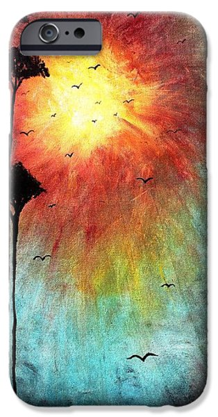 Tree Art Print Mixed Media iPhone Cases - Birds Of The Sun iPhone Case by Mike Grubb