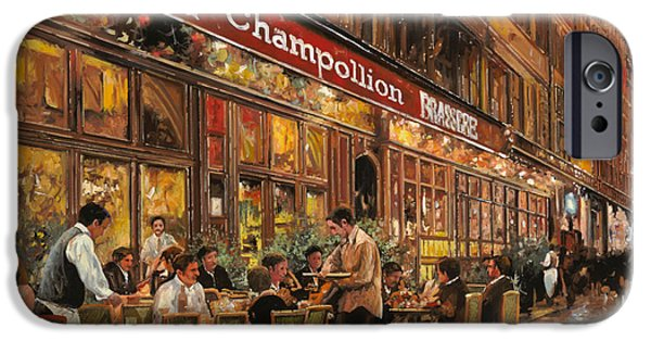 Street iPhone Cases - Bistrot Champollion iPhone Case by Guido Borelli