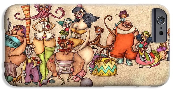 People Drawings iPhone Cases - Bizarre Circus People iPhone Case by Autogiro Illustration