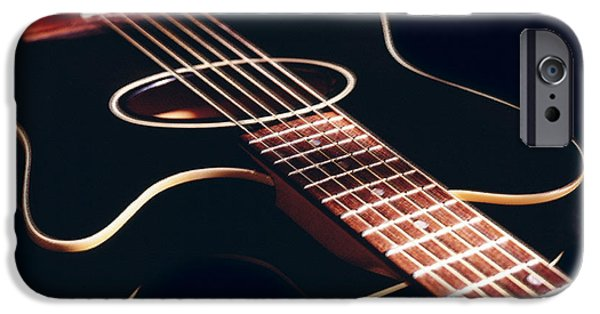 Guitar Strings iPhone Cases - Black Acoustic Guitar iPhone Case by Mike McGlothlen