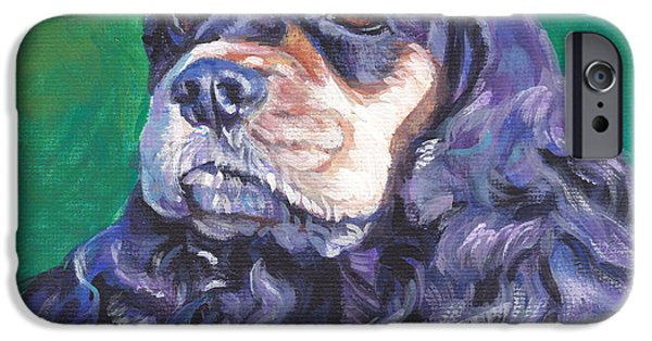 Black Dog iPhone Cases - black and tan Cocker Spaniel iPhone Case by Lee Ann Shepard