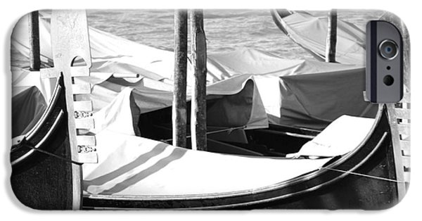 Venetian Canals iPhone Cases - Black and white gondolas Venice Italy iPhone Case by Rebecca Margraf