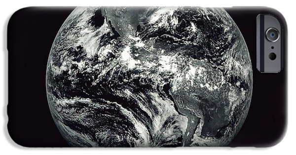Terrestrial Sphere iPhone Cases - Black And White Image Of Earth iPhone Case by Stocktrek Images