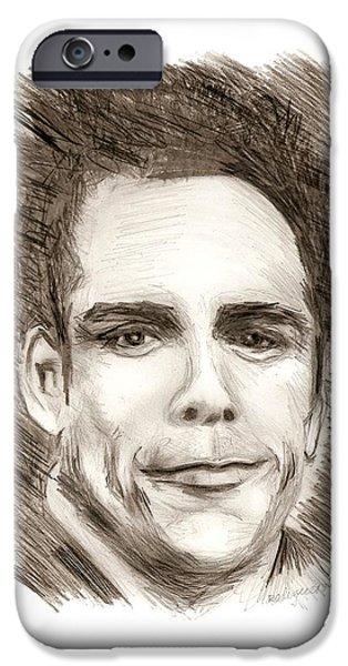 Black and White Pencil Portrait iPhone Case by Mario  Perez