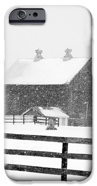 Wintertime iPhone Cases - Black and White Photograph of a barn near cannonsburg during a snowstorm iPhone Case by Randall Nyhof