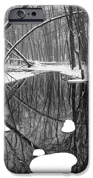Winter Storm iPhone Cases - Black and white photograph of a winter stream iPhone Case by Randall Nyhof