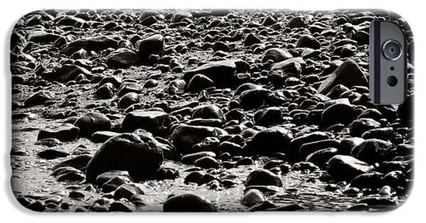 Jaco iPhone Cases - Black and White Rocky Beach iPhone Case by Anthony Doudt