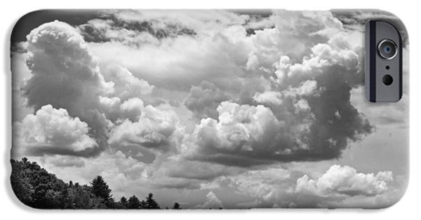 Maine iPhone Cases - Black And White Storm Clouds Cobbossee Lake Maine Fine Art Print iPhone Case by Keith Webber Jr