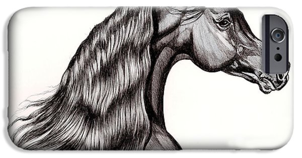 Drawing Of A Horse iPhone Cases - Black Arabian Head View from Right iPhone Case by Cheryl Poland