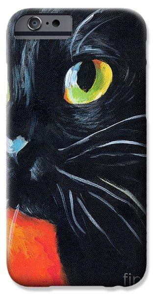 Photo Paintings iPhone Cases - Black cat painting portrait iPhone Case by Svetlana Novikova