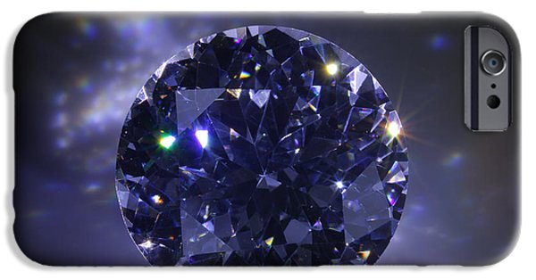 Close Jewelry iPhone Cases - Black Diamond iPhone Case by Atiketta Sangasaeng