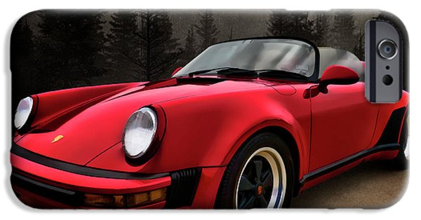 Cars Digital Art iPhone Cases - Black Forest - Red Speedster iPhone Case by Douglas Pittman