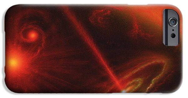 Disc iPhone Cases - Black Hole & Red Giant Star iPhone Case by Julian Baum