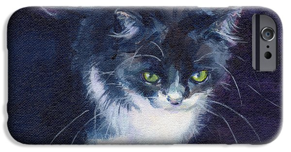 Felines iPhone Cases - Black on Blacl iPhone Case by Kimberly Santini
