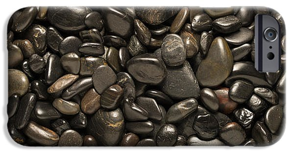 Pebbles iPhone Cases - Black River Stones Landscape iPhone Case by Steve Gadomski