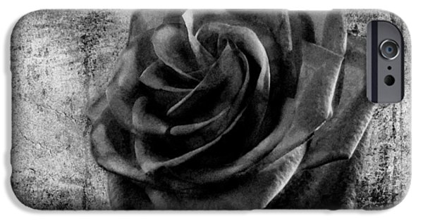 Business Digital Art iPhone Cases - Black Rose Eternal  BW iPhone Case by David Dehner