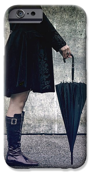 black umbrellla iPhone Case by Joana Kruse