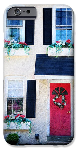 Mayberry iPhone Cases - Black Window Shutters with Flowers iPhone Case by Paul Ward
