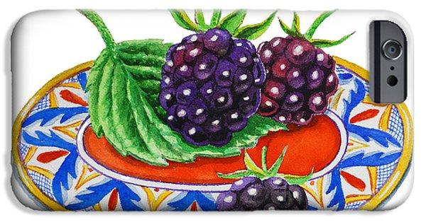 Berry Paintings iPhone Cases - Blackberries iPhone Case by Irina Sztukowski