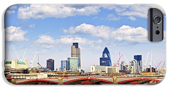 River View iPhone Cases - Blackfriars Bridge with London skyline iPhone Case by Elena Elisseeva