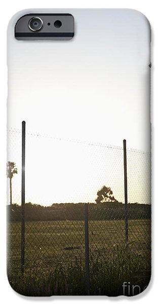 Aeronautics iPhone Cases - Blimp Flying Over Sports Field iPhone Case by Sam Bloomberg-rissman