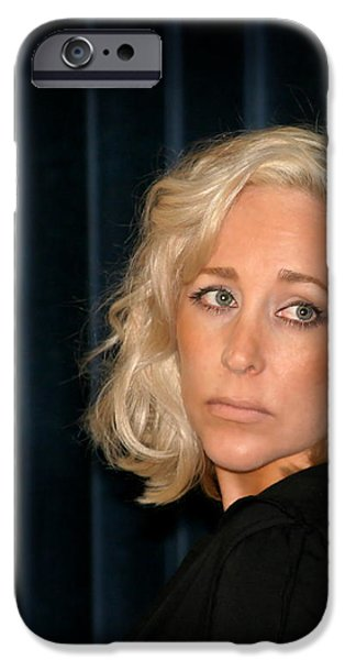 Blond Woman Sad iPhone Case by Henrik Lehnerer