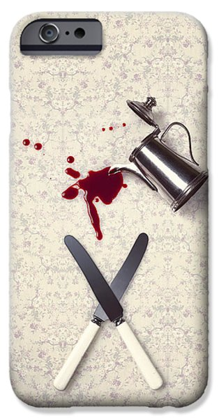 Eerie Photographs iPhone Cases - Bloody Dining Table iPhone Case by Joana Kruse