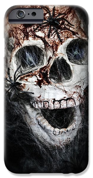 Creepy iPhone Cases - Bloody Skull iPhone Case by Joana Kruse