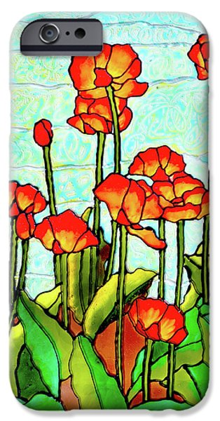 Florals Glass Art iPhone Cases - Blooming Flowers iPhone Case by Farah Faizal