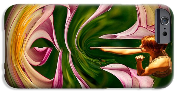 Creative Manipulation iPhone Cases - Blowing up the world. iPhone Case by Jean Noren