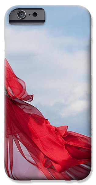 Blown Away Woman in Red Series iPhone Case by Cindy Singleton