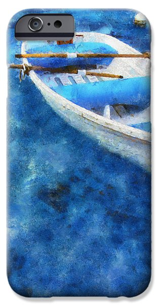 Blue and White. Lonely Boat. Impressionism iPhone Case by Jenny Rainbow