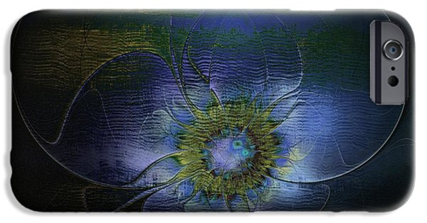 Floral Digital Art Digital Art iPhone Cases - Blue Anemone iPhone Case by Amanda Moore