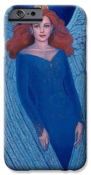 Spiritual Pastels iPhone Cases - Blue Angel iPhone Case by Sue Halstenberg