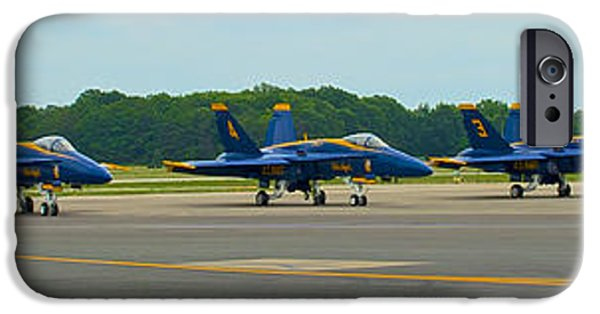 Angel Blues iPhone Cases - Blue Angels on Tarmac iPhone Case by Mark Dodd