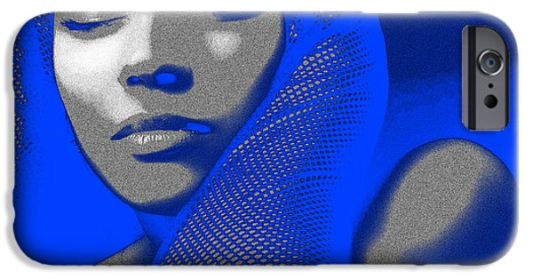 Earrings iPhone Cases - Blue Beauty iPhone Case by Naxart Studio