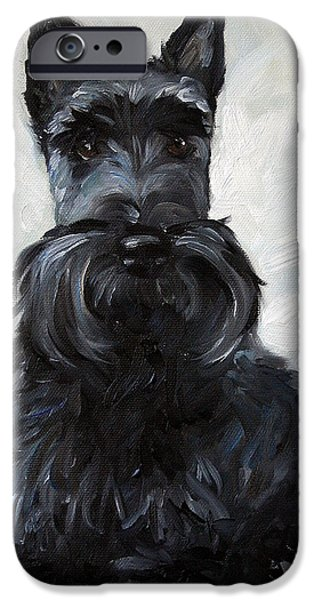 Scottish Terrier Art iPhone Cases - Blue Boy iPhone Case by Mary Sparrow