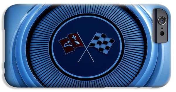 Automotive iPhone Cases - Blue Corvette Badge iPhone Case by Douglas Pittman