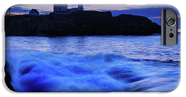 Cape Neddick Lighthouse iPhone Cases - Blue Dawn iPhone Case by Rick Berk