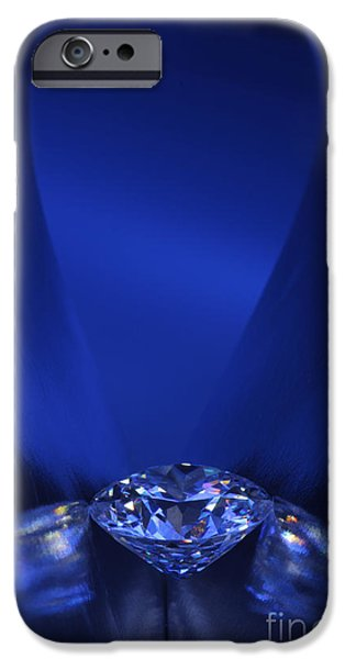 Stones Jewelry iPhone Cases - Blue Diamond In Blue Light iPhone Case by Atiketta Sangasaeng