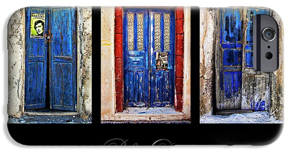 Entrance Door Photographs iPhone Cases - Blue Doors Of Santorini iPhone Case by Meirion Matthias
