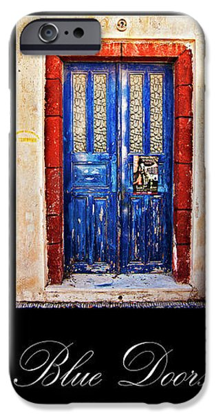 blue doors of santorini iPhone Case by Meirion Matthias