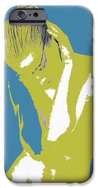 Earrings iPhone Cases - Blue Drama iPhone Case by Naxart Studio