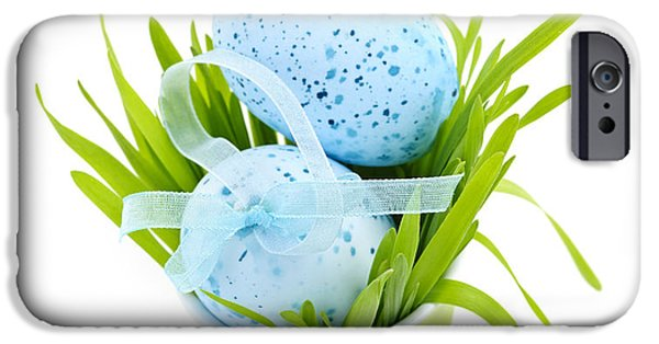 Easter Celebration iPhone Cases - Blue Easter eggs and green grass iPhone Case by Elena Elisseeva