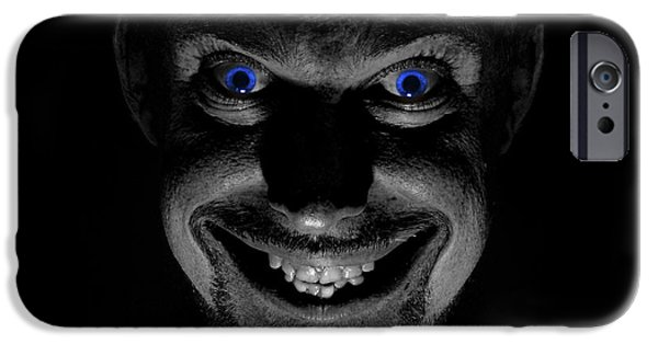Toothy Smile iPhone Cases - Blue eyed demon iPhone Case by Guy Viner