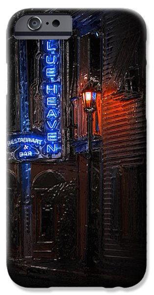 Night Lamp iPhone Cases - Blue Heaven Rendezvous - Key West Bar - Florida iPhone Case by John Stephens