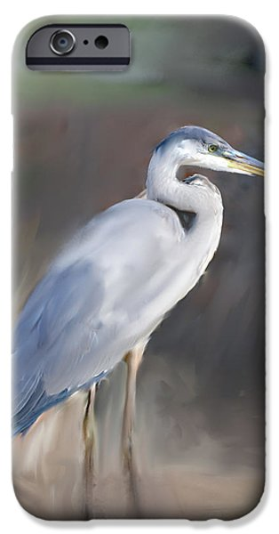 Blue Heron Painting III iPhone Case by Don  Wright