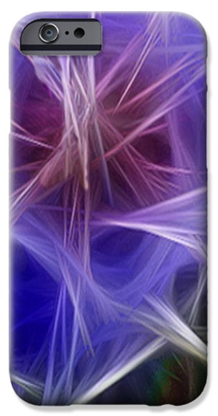 Blue Hibiscus Fractal Panel 2 iPhone Case by Peter Piatt