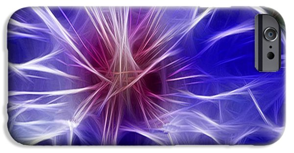 Morphed iPhone Cases - Blue Hibiscus Fractal Panel 3 iPhone Case by Peter Piatt