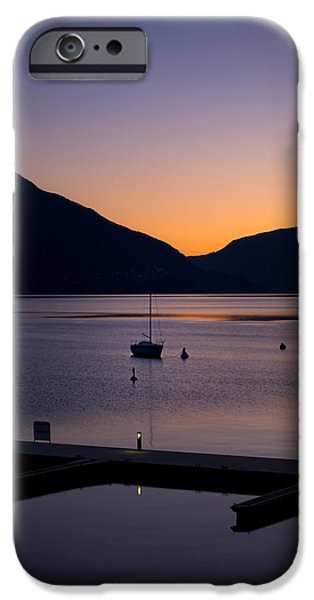 Ascona iPhone Cases - blue hour - Lake Maggiore iPhone Case by Joana Kruse